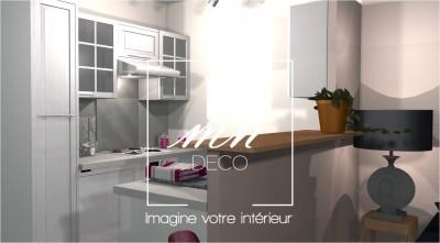 3D : Vue sur la cuisine dégagée