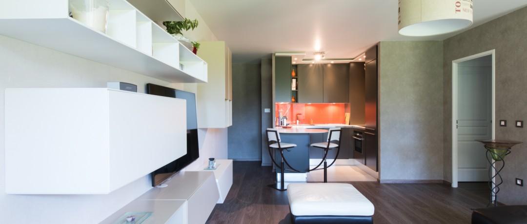 Ameublement salon et aménagement d'une cuisine ouverte