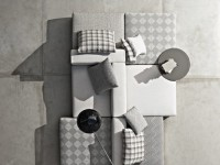 Assemblage de canapés modulables gris à différent motif géométrique