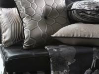 Canapé en cuir et coussins