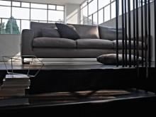 Canapé en cuir marron clair