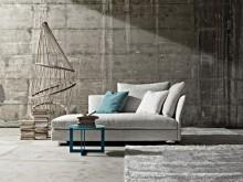 Canapé en méridienne design en tissu blanc