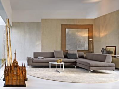 Canapé modulable de couleur grise
