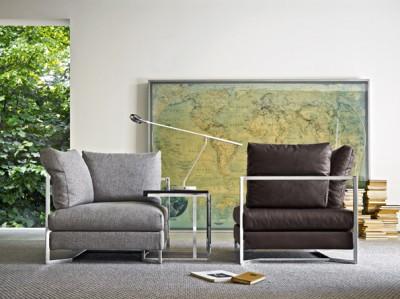 Canapé modulable en tissu et en cuir