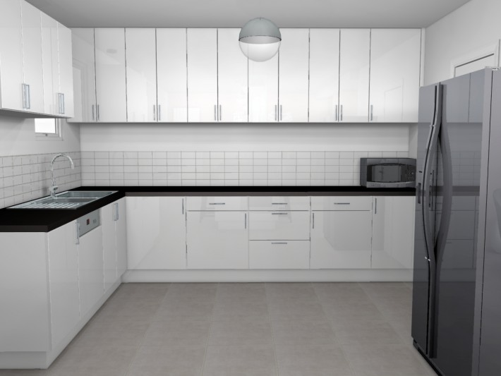 D coration douce et apaisante mh d co cuisine moderne blanc laqu id - Deco mur cuisine moderne ...