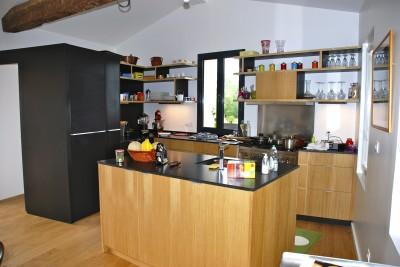 Photos sur le th me plan de travail en granit noir - Cuisine ouverte avec ilot central ...