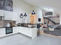 Cuisine ouverte sur salon moderne gris