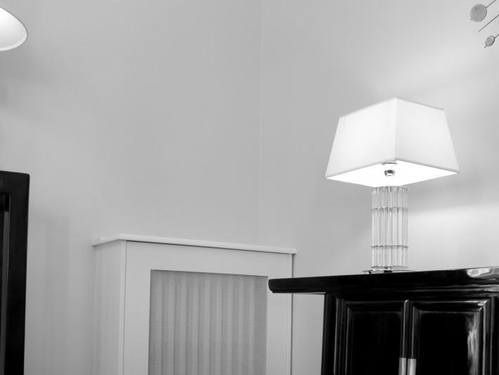 Décoration de salon noir et blanc