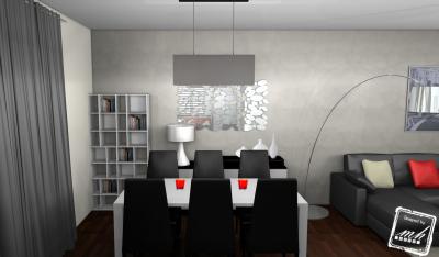Salon salle manger contemporain gris photo - Deco salle a manger contemporaine ...