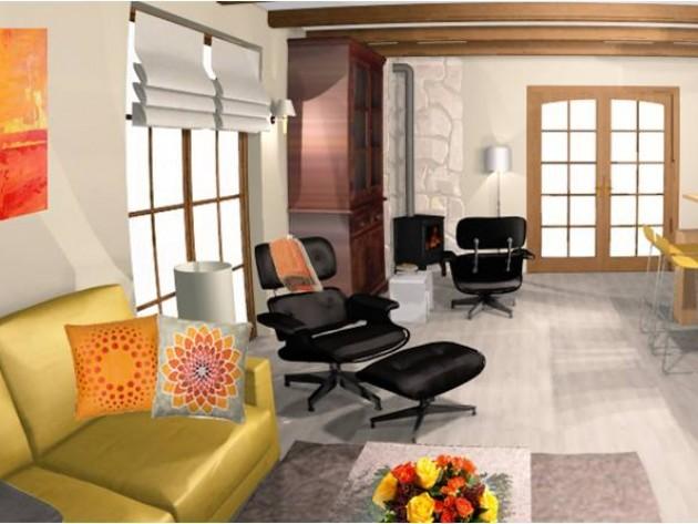 salon salle manger rustique photo salon salle manger rustique id. Black Bedroom Furniture Sets. Home Design Ideas