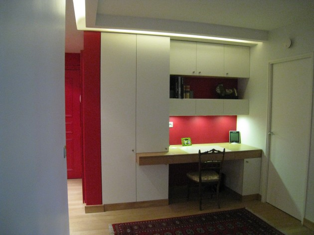 R novation appartement mise en sc ne m espace bureau avec rangements i - Bureau avec rangements ...