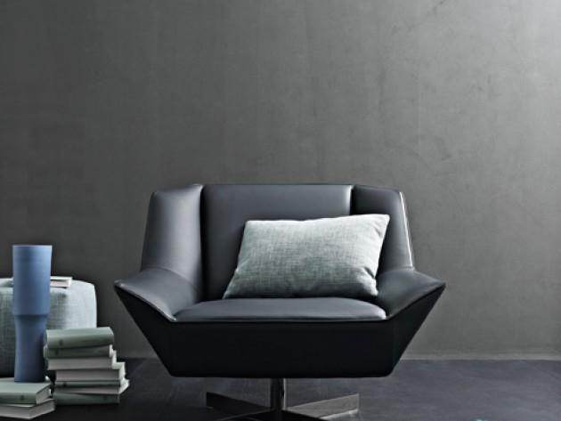 Fauteuil géométrique en cuir noir