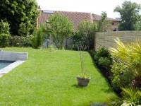 Jardin aménagé avec pelouse et arbustes