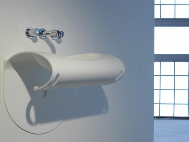Lavabo blanc HI-MACS® de forme originale