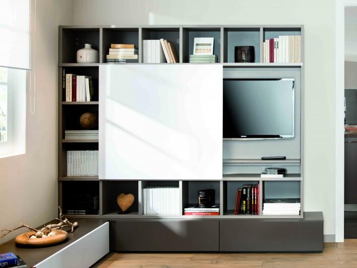salon loft schmidt meuble de t l vision moderne avec espaces de rangements id. Black Bedroom Furniture Sets. Home Design Ideas