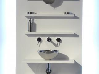 Meuble étagère blanc pour salle de bain en HI-MACS®