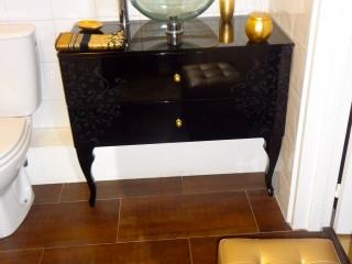 Meuble lavabo laqué noir
