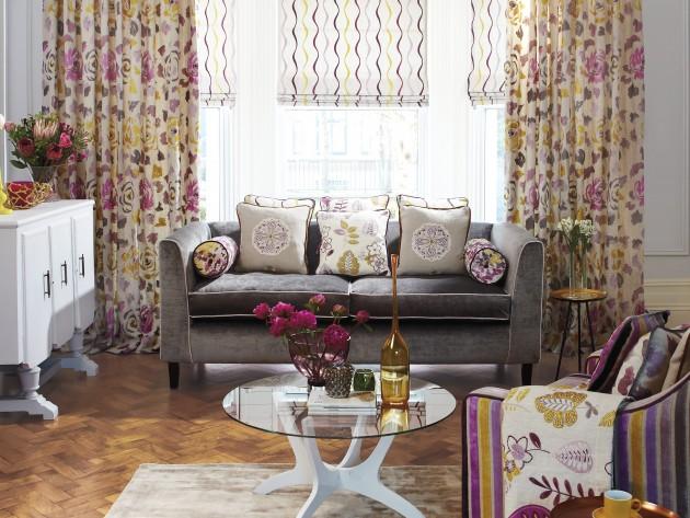 Textiles jamboree prestigious textiles mise en sc ne des tissus de la collection dans un Utilisation de tissus dans le salon