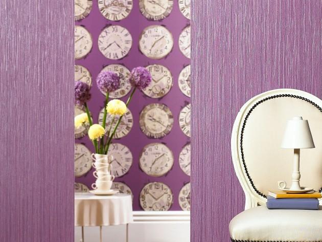 Papier Peint Time and Fabrica Grape Prestigious Textiles