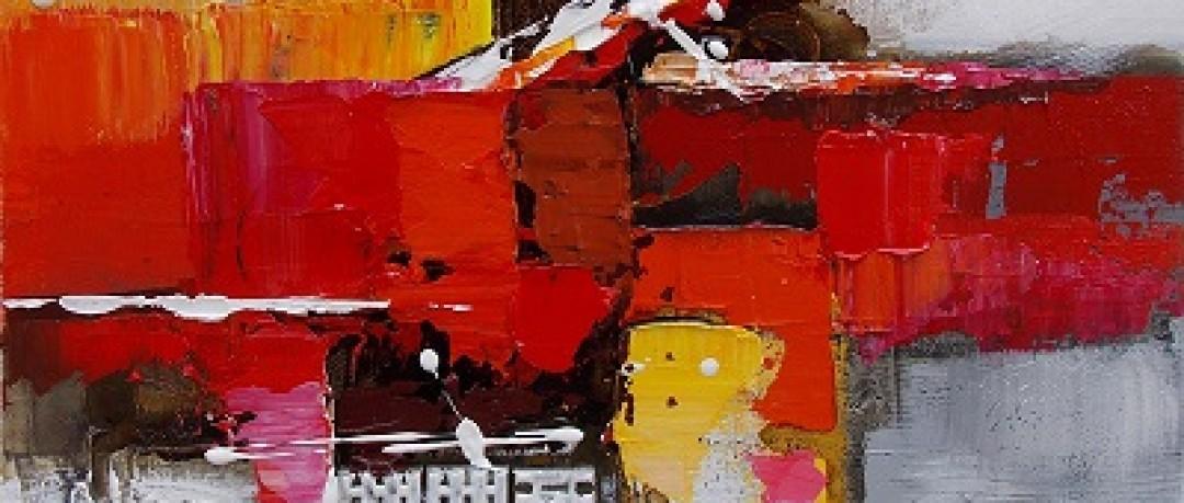 Peinture abstraite gris et orange