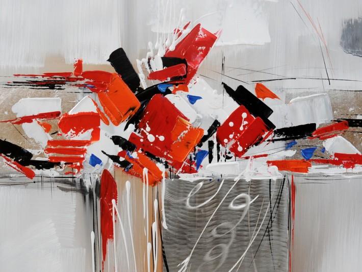 Peinture abstraite rouge et grise