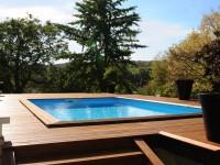 Piscinelle BO : Piscine carrée avec escalier et terrasse en bois