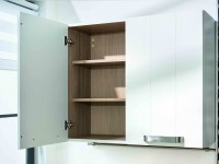 Placard blanc avec intérieur en bois