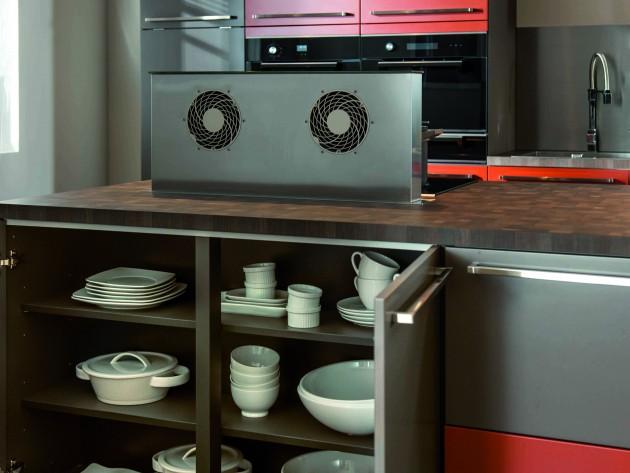 cuisine loft schmidt placard vaisselier gris de