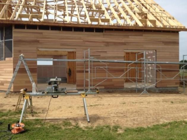 Maison en ossature bois en Normandie Pose de la charpente et du bardage Idéesmaison com # Maison Ossature Bois Normandie