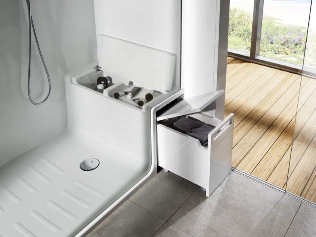 douche innovante hide seat roca france rangement de si ge de douche id. Black Bedroom Furniture Sets. Home Design Ideas