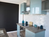 Rénovation cuisine - bleu blanc bois