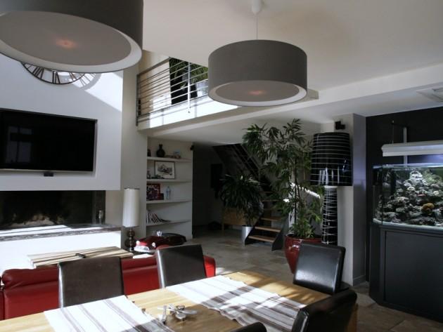 Am nagement complet duplex ouest home salle manger contemporaine avec aquarium - Salle een diner contemporaine ...