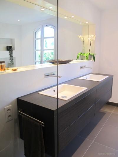 Salle de bain- Lavabo double vasque suspendu