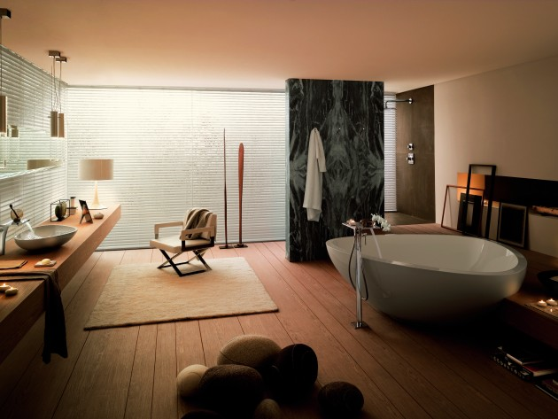 Baignoire lot massaud hansgrohe et axor salle de bain for Petite salle de bain baignoire ilot
