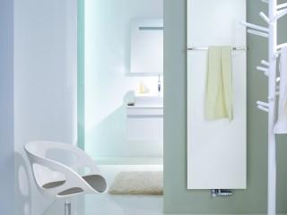 Salle de bain blanche avec sèche-serviette design