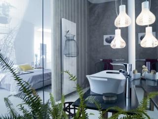 Salle de bain design avec suspension luminaire originale