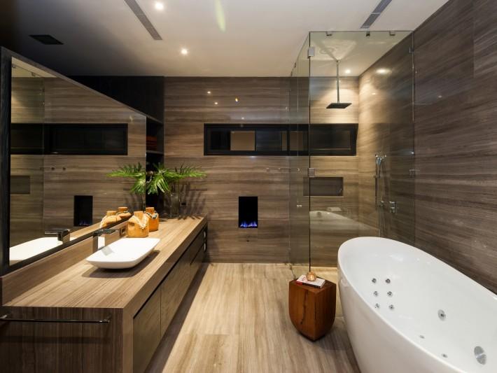 Maison d\'architecte CH - GLR Arquitectos - Salle de bain en bois ...