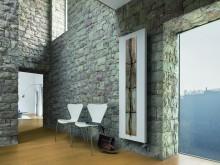 Salle de séjour avec murs en pierres style chateau fort