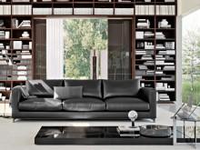 Salon avec grande bibliothèque en bois et canapé en cuir