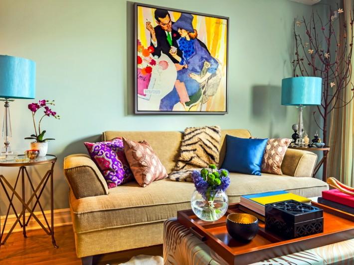 Salon avec un canapé en tissu