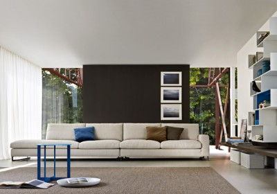 Salon contemporain avec canapé en tissu blanc