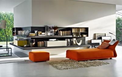 Salon contemporain avec canapé en tissu orange
