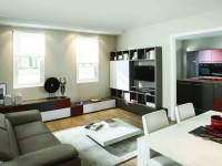 Salon contemporain avec rangement pratique