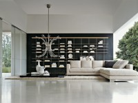 Salon design noir et blanc avec canapé d'angle