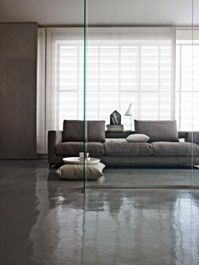 Salon épuré de couleur grise