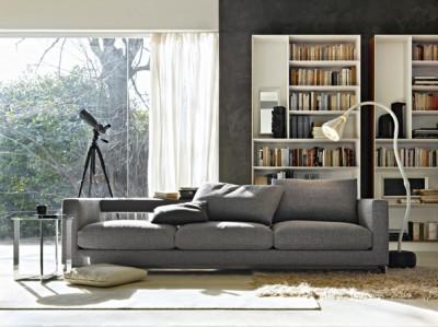 Canape angle noir blanc carrelage blanc mobilier unique - Canape avec bibliotheque integree ...