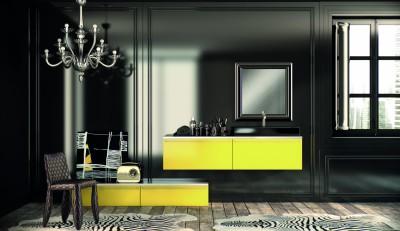 Salon sombre avec meubles de rangements verts vifs