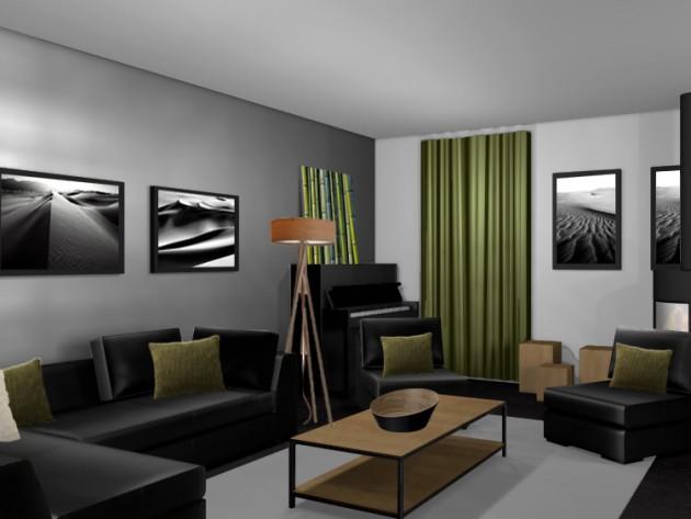 Salon Salle A Manger Industriel Noir Photo Ideesmaison Com