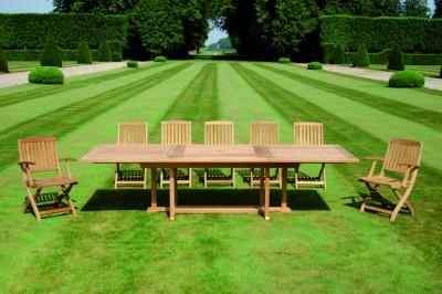 Mobilier de jardin design tectona id - Table de jardin en teck avec rallonges ...