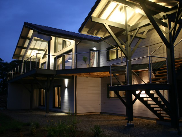 Construction maison ossature bois  Guillaumie  Terrasse en bois sur